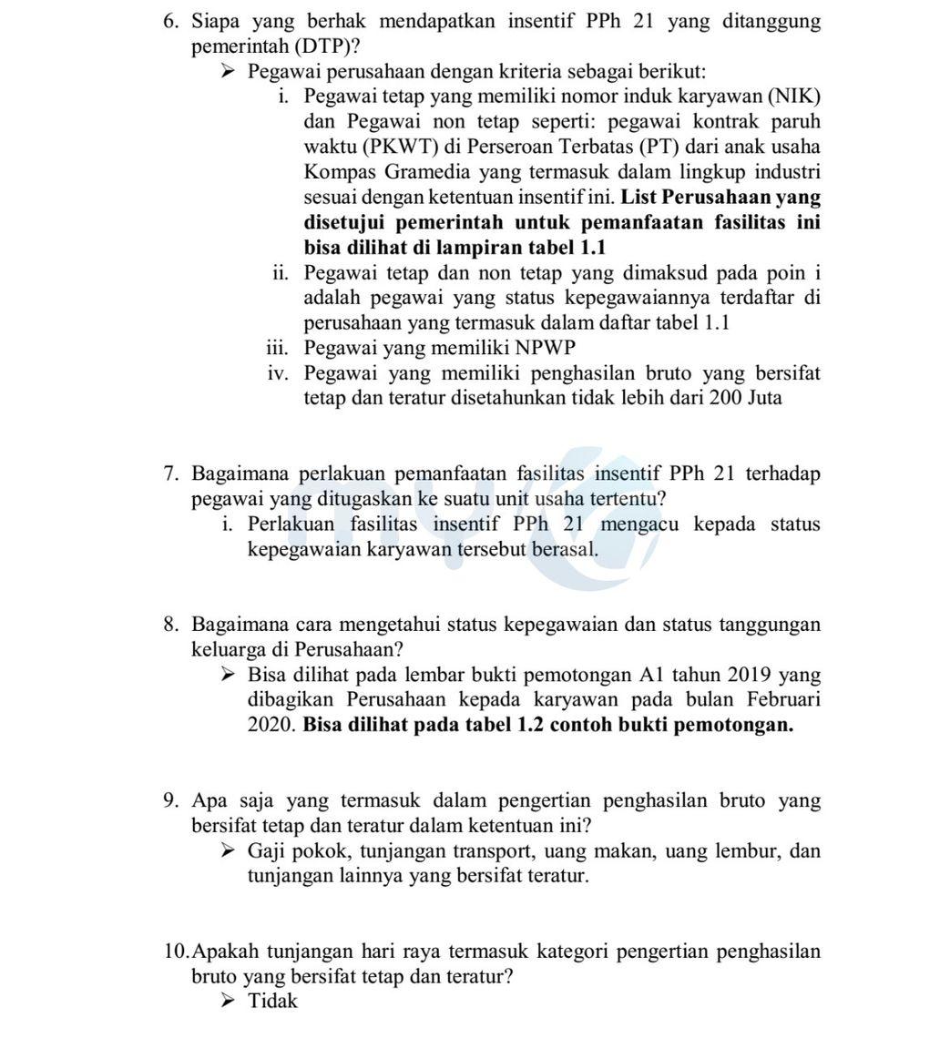 Kebijakan Perusahaan Terkait Insentif Pajak Penghasilan Pasal 21